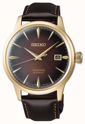 Seiko Presage Automatic Brown Dial 'Cocktail Time' Bracelet en cuir marron SRPD36J1