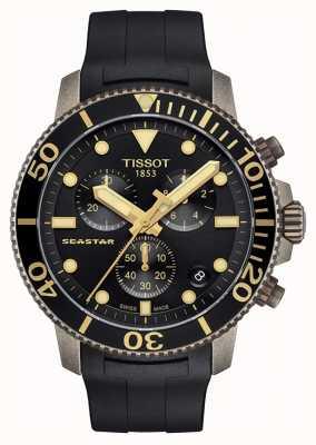 Tissot | mens seastar | cadran noir chronographe | bracelet en caoutchouc noir T1204173705101