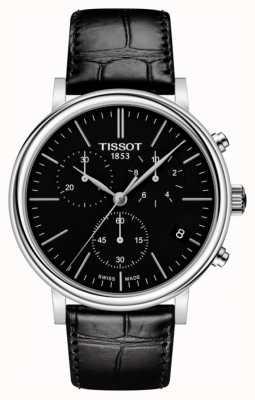 Tissot | mens carson | cadran noir chronographe | bracelet en cuir noir T1224171605100