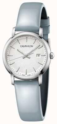 Calvin Klein   femmes établies   bracelet en cuir bleu   cadran argenté   K9H231V6