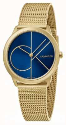 Calvin Klein Minimal | bracelet en maille d'or | cadran bleu | K3M5255N