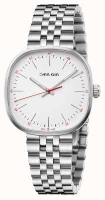 Calvin Klein   bracelet en acier inoxydable pour hommes   cadran carré argenté   K9Q12136