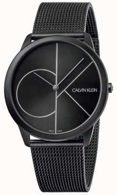 Calvin Klein Minimal | bracelet en maille noire | cadran noir | K3M5T451