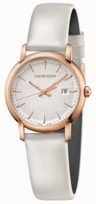 Calvin Klein   femmes établies   bracelet en cuir blanc   cadran argenté   K9H236L6