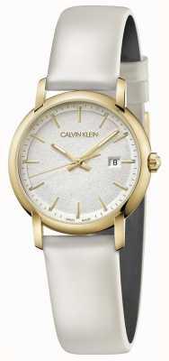 Calvin Klein   bracelet en cuir blanc pour femme   cadran argenté   K9H235L6