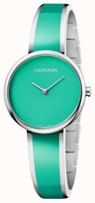 Calvin Klein   les femmes séduisent   bracelet de résine vert acier inoxydable   K4E2N11L