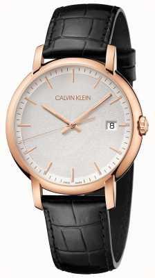 Calvin Klein | mens minimal | bracelet en cuir noir | cadran blanc | K9H216C6