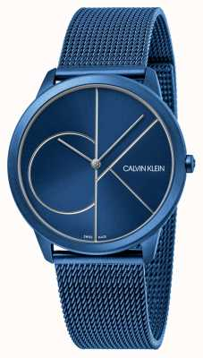 Calvin Klein Minimal | bracelet maille bleu | cadran bleu | K3M51T5N
