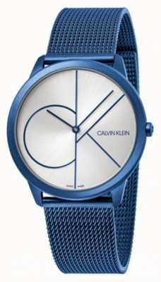 Calvin Klein Minimal | bracelet maille bleu | cadran argenté | K3M51T56