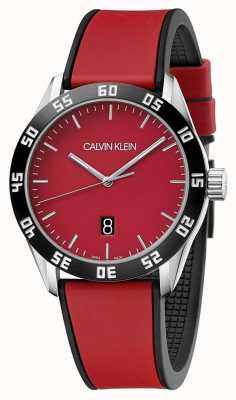 Calvin Klein | bracelet homme complet en caoutchouc rouge | cadran rouge | K9R31CUP