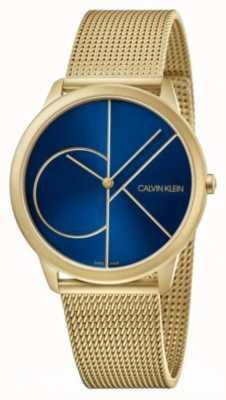 Calvin Klein Minimal | bracelet en maille d'or | cadran bleu | K3M5155N