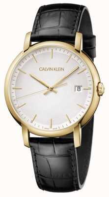 Calvin Klein | mens minimal | bracelet en cuir noir | cadran blanc | K9H215C6