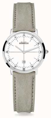 Michel Herbelin | quartz de la ville | les femmes | bracelet en cuir beige | cadran blanc | 16915/12LKN