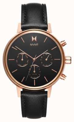 MVMT Nova vela | bracelet en cuir noir | cadran noir D-FC01-RGBL