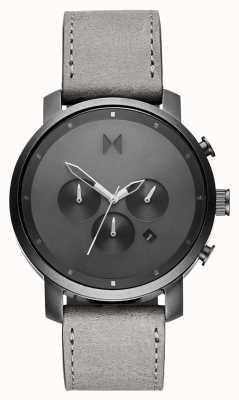 MVMT Chrono 45 mm monochrome | bracelet en cuir gris | cadran gris D-MC01-BBLGR