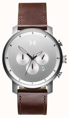 MVMT Chrono 45 mm brun argenté | bracelet marron | cadran argenté D-MC01-SBRL