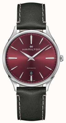Hamilton Jazzmaster thinline | automatique | cadran rouge | bracelet gris H38525771