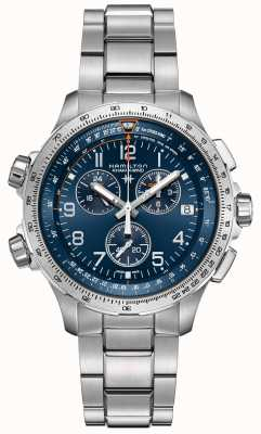 Hamilton | kaki aviation x-wind gmt | cadran bleu | acier inoxydable H77922141