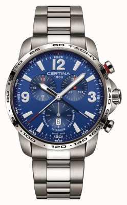 Certina | ds podium | cadran bleu chronographe | bracelet en titane | C0016474404700