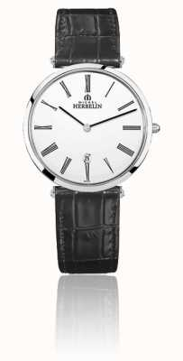 Michel Herbelin | hommes | epsilon | bracelet en cuir noir | cadran blanc | 19406/01N