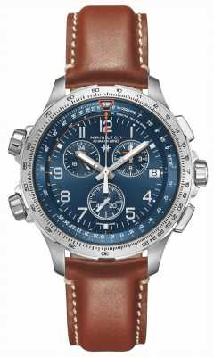 Hamilton | kaki aviation x-wind gmt | cadran bleu | cuir marron | H77922541