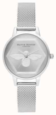 Olivia Burton | montre de charité abeille 3d | bracelet en maille d'argent l OB16AM168