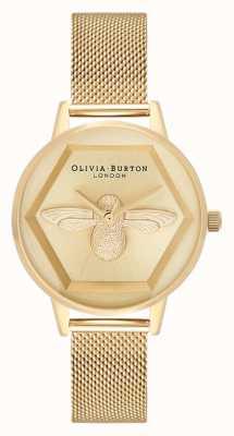 Olivia Burton | Montre 3d charité abeille | bracelet maille en or jaune | OB16AM169