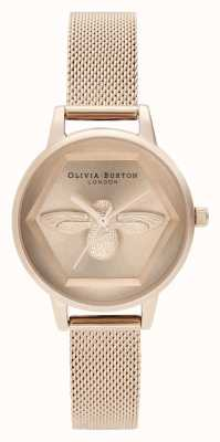Olivia Burton | Montre 3d charité abeille | maille en or rose | abeille d'or rose | OB16AM170
