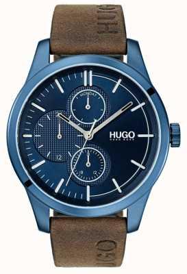 HUGO #découvrir | bracelet en cuir marron | cadran bleu 1530083