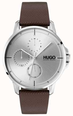 HUGO #focus | bracelet en cuir marron | cadran argenté 1530023