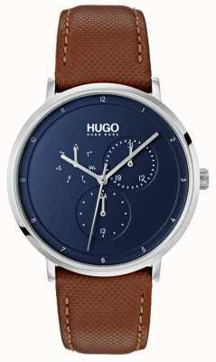 HUGO #guide | bracelet en cuir marron | cadran bleu 1530032