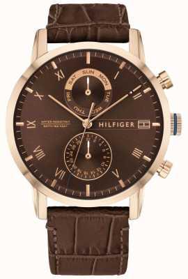 Tommy Hilfiger | bracelet en cuir marron pour hommes | cadran marron | 1710400