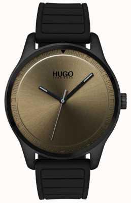 HUGO #move | bracelet en caoutchouc noir | cadran kaki 1530041