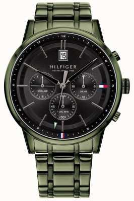Tommy Hilfiger | bracelet plaqué vert pour hommes | cadran noir | 1791634