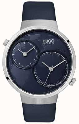 HUGO #travel | bracelet en cuir bleu | cadran bleu 1530053