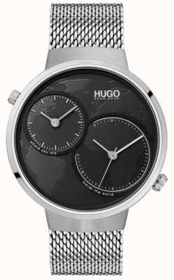 HUGO #travel | maille d'acier inoxydable | cadran noir 1530055