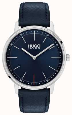 HUGO #exist | bracelet en cuir bleu | cadran bleu 1520008