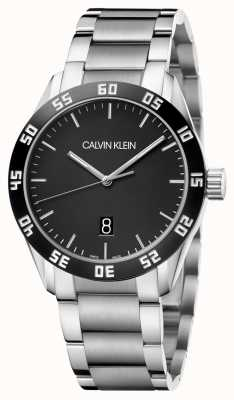 Calvin Klein   hommes   rivaliser   bracelet en acier inoxydable   cadran noir   K9R31C41