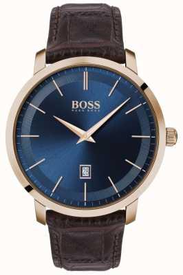 BOSS | classique premium pour hommes | bracelet en cuir marron | cadran bleu | 1513745