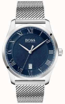 BOSS Master | bracelet en maille en acier inoxydable | cadran bleu | 1513737
