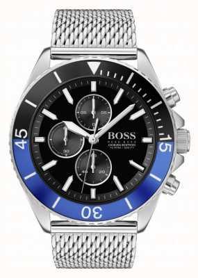 BOSS | édition océan pour hommes | bracelet en maille d'acier | cadran noir | 1513742
