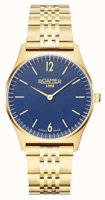 Roamer | éléments féminins | acier inoxydable plaqué or | cadran bleu 650815-48-45-50