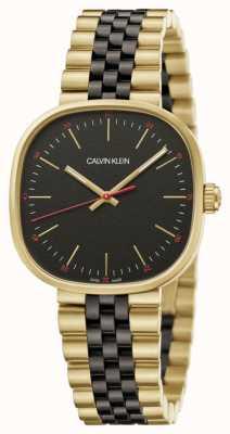Calvin Klein | hommes | carrément | bracelet deux tons | cadran noir | K9Q125Z1