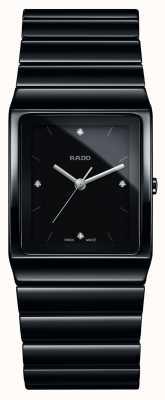 Rado Montre bracelet en céramique à cadran carré et diamants Ceramica R21700702