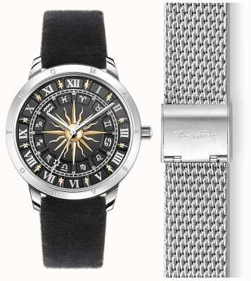 Thomas Sabo | montre soleil femme | bracelet en velours noir | cadran solaire 3d noir SET_WA0351-217-203-33