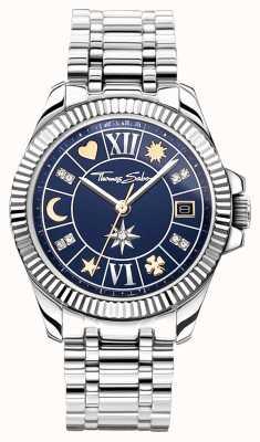 Thomas Sabo | porte-bonheur des femmes | cadran bleu | bracelet en acier inoxydable WA0354-201-209-33