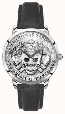 Thomas Sabo | crânes 3d esprit rebelle des hommes | bracelet en cuir noir | WA0355-203-201-42