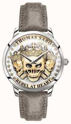 Thomas Sabo | crânes 3d esprit rebelle des hommes | cadran en or | bracelet en cuir | WA0356-273-207-42