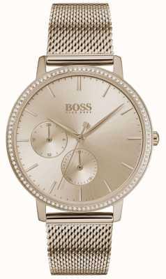 BOSS | l'infini des femmes | maille en or rose | cadran soleil or rose 1502519