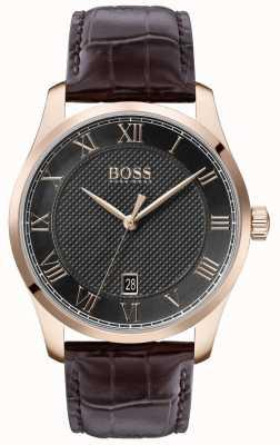 BOSS Master | bracelet en cuir marron | cadran gris | 1513740